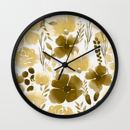 Watercolour background with variety of flowers XI Wall Clock