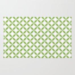 Greenery Green and White Interlocking Geometric Circles Rug