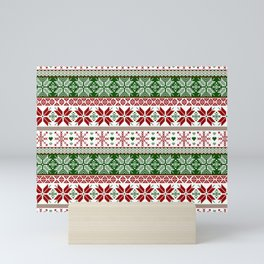Green & Red Winter Fair Isle Mini Art Print
