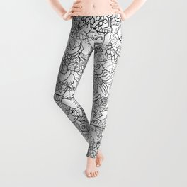 Coloring Page Style Vector Seamless Pattern Leggings