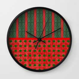 Christmas Red and Green Woven Stripes and Dots Wall Clock