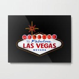 Welcome to Fabulous Las Vegas vintage sign neon on dark background  Metal Print