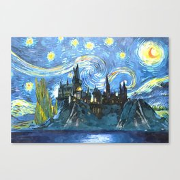 Starry Night in Hogwarts Castle - HP Canvas Print