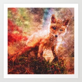 CUTE LITTLE BABY FOX CUB PUP Art Print