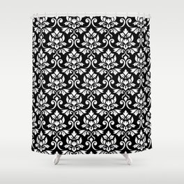Feuille Damask Pattern White on Black Shower Curtain