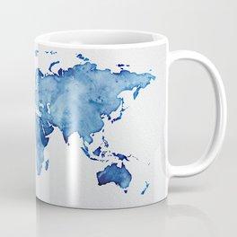 Blue World Map 03 Coffee Mug