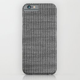 Antiallergenic Hand Knitted Grey Wool Pattern - Mix & Match with Simplicty of life iPhone Case