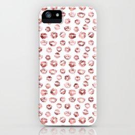 Girly Fashion Lips Rose Gold Lipstick Pattern iPhone Case