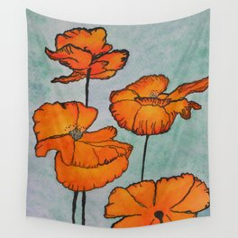 Orange Poppies Wall Tapestry