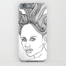 Halloween Vampire Girl Ink Drawing iPhone Case