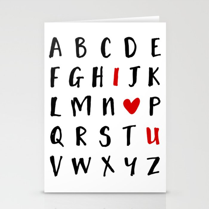 26 LETTERS IN THE ALPHABET AND I LOVE U - Valentines Day Love Quote Stationery Cards