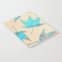 Japanese maple leaves - turquoise and gold on unbleached paper Notebook
