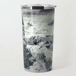 Old French village in countryside Mont Blanc mountains vintage styled Travel Mug