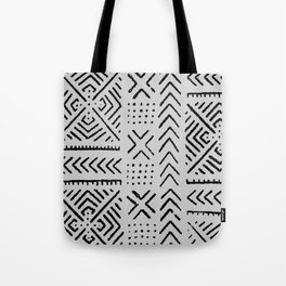 Line Mud Cloth // Light Grey Tote Bag
