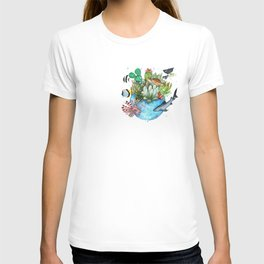 a planet in a drop T-shirt