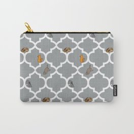 Cats on a Lattice - Grey Carry-All Pouch