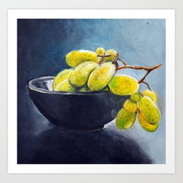 Painting of yellow grapes in a fruit bowl. Illustration Art Print