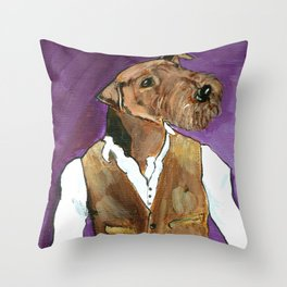 Best dressed Airedale Throw Pillow