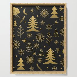 Black and Gold Classic Christmas Serving Tray