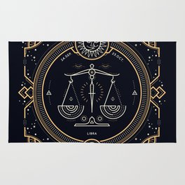 Libra Zodiac Golden White on Black Background Rug