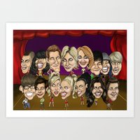 glee Art Prints featuring Glee Cast Caricature Artwork  by GinjaNinja1801