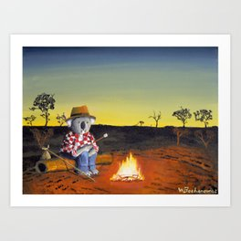 Sitting Near the Fire Art Print