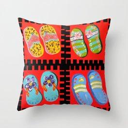 Flip Flops Times Four Throw Pillow