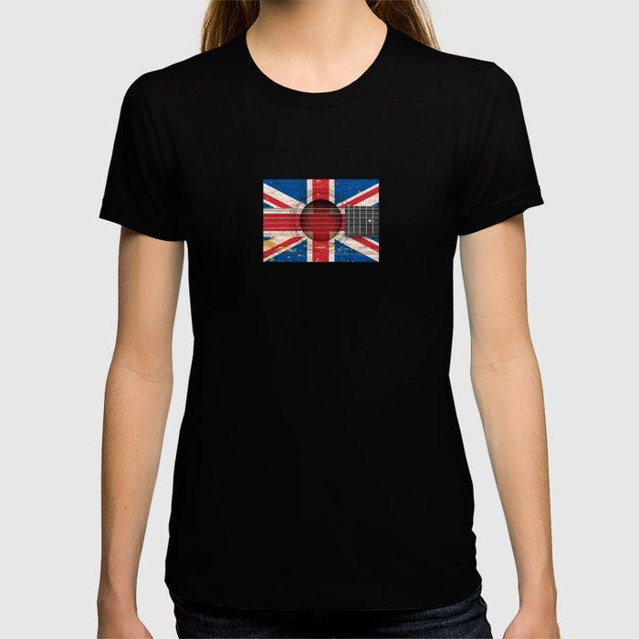 Old Vintage Acoustic Guitar with Union Jack British Flag T-shirt