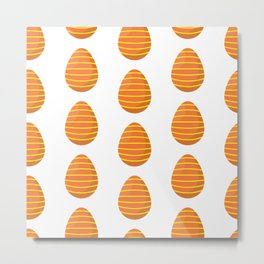 Orange Easter Egg Pattern Metal Print