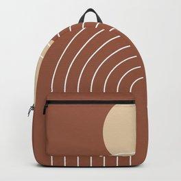 Mid Century Modern Geometric 3 (Terrocatta and beige) Backpack
