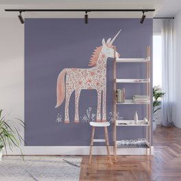 Unicorn with Flowers Wall Mural