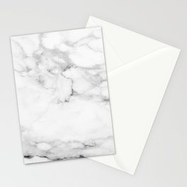Lux white and gray faux marble Stationery Cards
