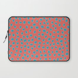 Living Coral and Turquoise, Teal Polka Dots Laptop Sleeve