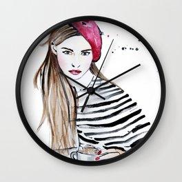 Afternoon coffee in Paris (Café au Lait) Wall Clock