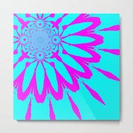 The Modern Flower Turquoise & Fushia Metal Print