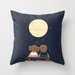 You and me and the moon Throw Pillow
