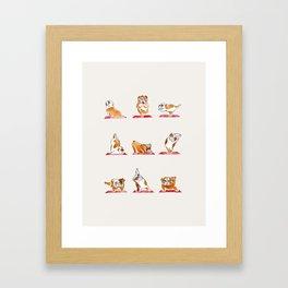 English Bulldog Yoga Watercolor Framed Art Print