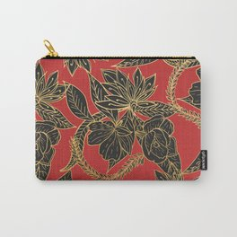 Bright red black gold oriental floral Carry-All Pouch