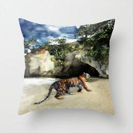 Tiger On The Beach Throw Pillow