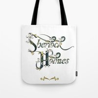 sherlock holmes Tote Bags featuring Sherlock Holmes by Ketina