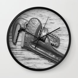 Pipe Wrench - BW Wall Clock