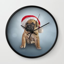 Drawing puppy Cane Corso in red hat of Santa Claus Wall Clock