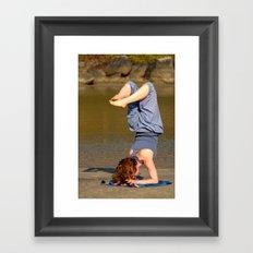 Yoga on Palolem Beach Framed Art Print