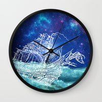 neverland Wall Clocks featuring To Neverland by Cat Milchard