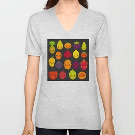 kawaii fruit Pear Mangosteen tangerine pineapple papaya persimmon pomegranate lime Unisex V-Neck
