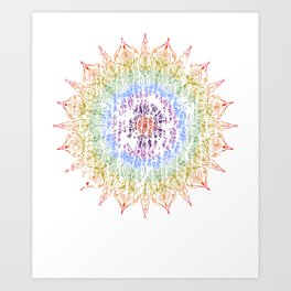 Rainbow Mandala Urban Decay Style - Vintage, Aged Pattern Art Print