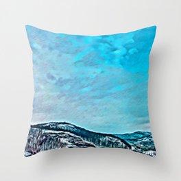Snowy Mountain Overlook Throw Pillow
