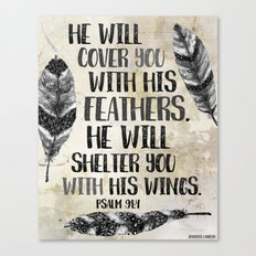 He Will Cover You With His Feathers. Black White & Taupe Edition  Canvas Print