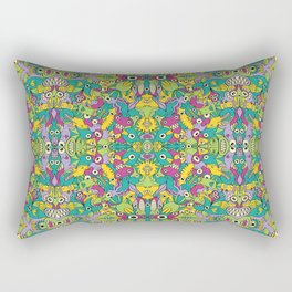 Odd creatures having fun by multiplying in a seamless pattern design Rectangular Pillow