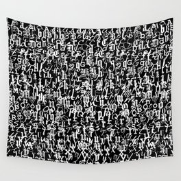 alphabet letters black and white - typography font  pattern Wall Tapestry